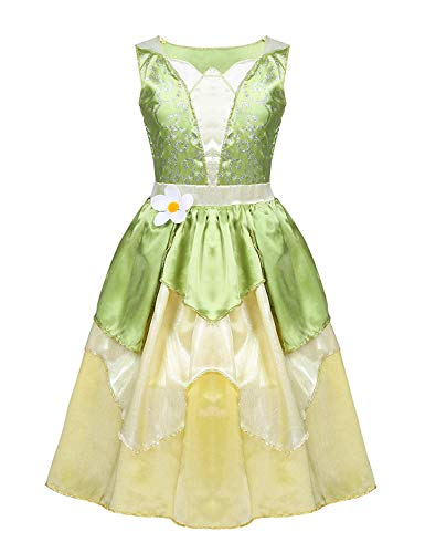 HinLot Tiana Princess Classic Fancy Dress Dress up Costume for Girls (Lime Green, S (5-6))