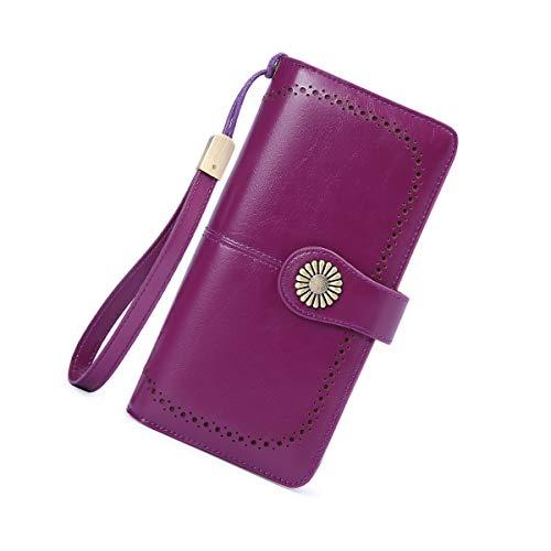 Neusky Damen Leder große Geldbörse, Frauen Leder Geldbeutel Lang Portemonnaie Geldtasche mit 24 Kartenfächer und RFID-Schutz (Lila)