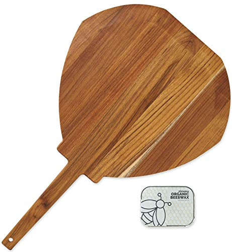 """Wooden Pizza Peel - Paddle Made of Teak Suitable for 12"""" Pizzas (2 oz of Extra Beeswax Included) by Ziruma"""