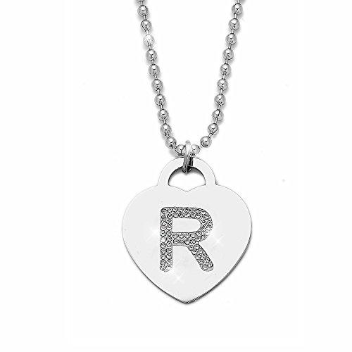 Collana con ciondolo da donna in acciaio con cristalli con lettera iniziale - pendente a forma di cuore con lettera dell'alfabeto - collana con catenina lunga 90 cm - argento e cristalli (R)
