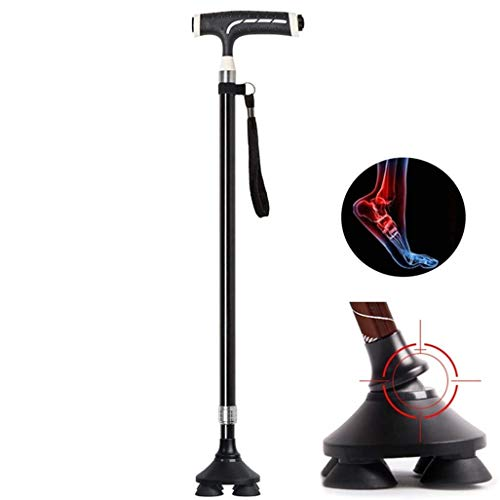 DFJU Gehstock - Ergonomischer Griff Höhenverstellbar, Bronzestöcke mit LED-Licht für Männer Frauen Arthritis Senioren Behinderte Ältere (4 Beine rutschfeste Basis) Krücken Last 200 kg
