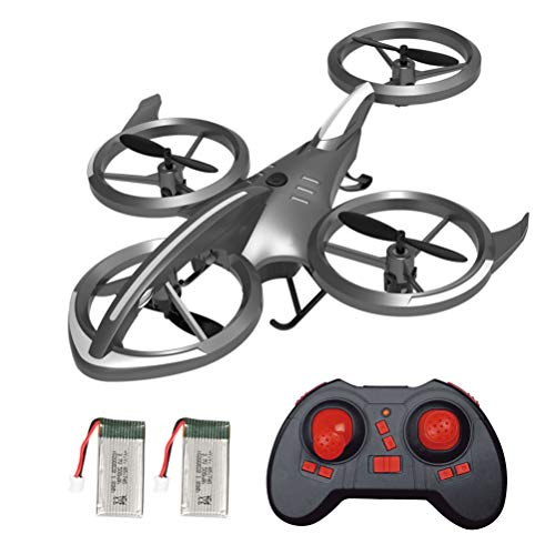 HGYYIO Mini Drone, UFO Drones for Kids, 6 Channels RC Quadcopter, with 18Mins(9+9) Flight Time and LED Light, One-Key Takeoff/Landing, Headless Mode, Suitable for Children Aged 7-14,Gray
