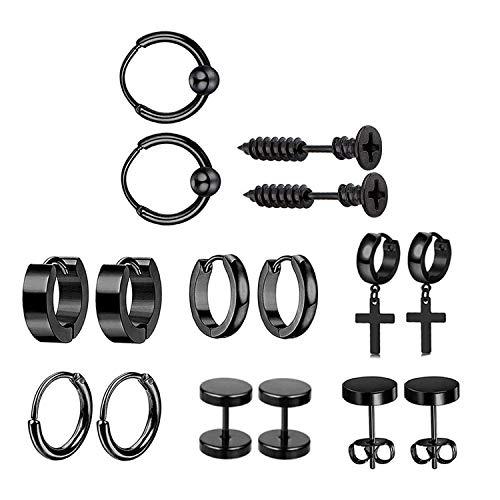 JZZJ 8 Pack Mujer Niña Hombre Aro Pequeño Pendientes in Plata Antialergicos Acero Inoxidable Piercing Negro-Tone Plata-(Negro)