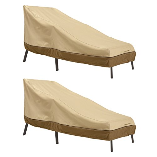 Classic Accessories Veranda Water-Resistant 66 Inch Patio Chaise Lounge Cover, 2 Pack