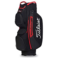 9 pockets 15 full-length dividers and a dedicated putter well Integrated cart strap tunnel with added protection Waterproof zippers with dual pulls Two velour lined valuables pockets