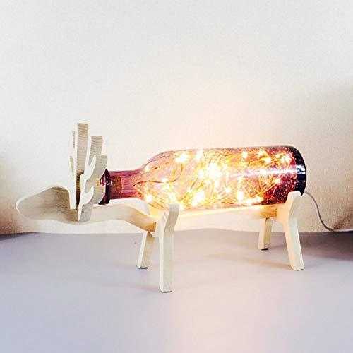 Lámpara de mesa alce de vidrio con luz nocturna