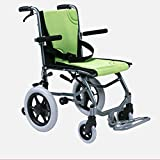 LOLRGV Tragbarer Ultra-Light Rollstuhl Folding Aluminium Eigenantrieb Manuelle Rollstühle Ergonomischer Stuhl Comfort Armlehne Gewicht 9.3kg Grün -