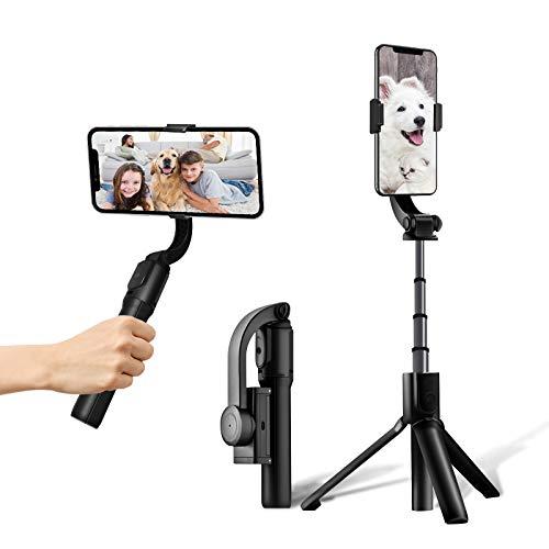 sumgott Estabilizador de cardán Plegable para teléfono Inteligente con Control Remoto inalámbrico, Vlog Youtuber Selfie Stick de 1 Eje para iPhone Samsung Huawei, Auto Balance/Shake Reduction