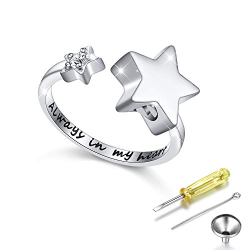 S925 Sterling Silver Always In My Heart Cremation Urn Ring Star Memorial Ashes Keepsakes Open Finger Ring Jewelry for Women,Size 7