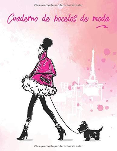 Cuaderno de bocetos de moda: 100 plantillas de modelos femeninas para diseñar tu ropa