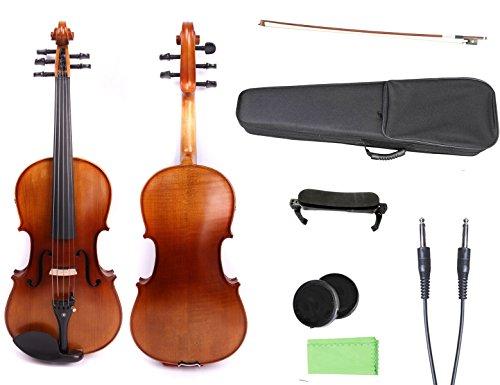 Yinfente 4/4 violín 5 cuerdas Violín eléctrico de tamaño completo de madera...