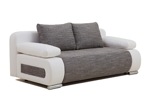 Collection AB ULM Sofa Schlafsofa, Kunstleder, grau, 98 x 200 x 85 cm