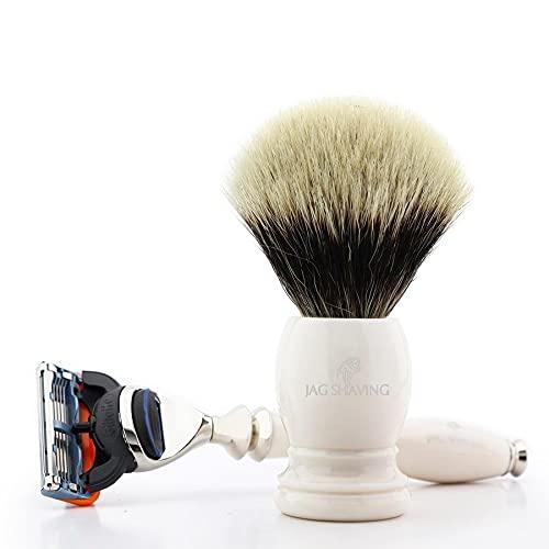 Jag Shaving - Juego de afeitado clásico (2 piezas, con punta de plata, cepillo de pelo de 5 cantos, material de resina, para hombre, afeitado húmedo