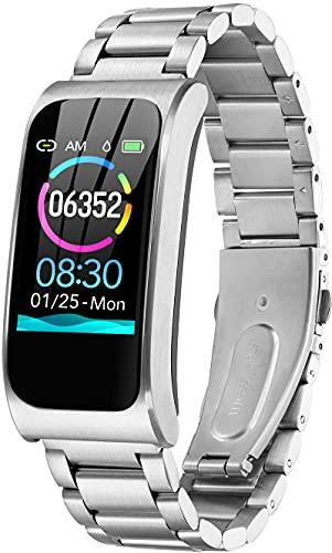 Reloj de fitness dorado con GPS, resistente al agua IP68, pulsómetro, podómetro, contador de calorías, reloj deportivo para hombre y mujer, acero inoxidable, plata,