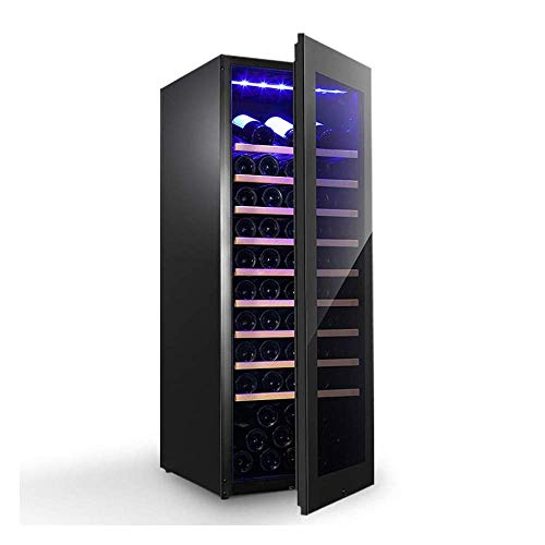 Multifunctional Wine Cooler, Digital Temperature Display with Touch Screen, Silent Wine Cabinet with UV-Resistant Glass Door