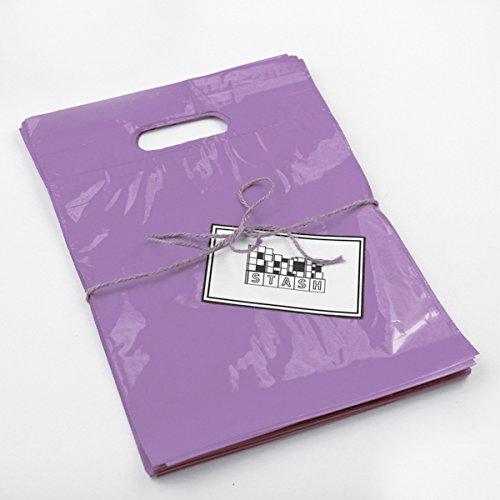 Packstash 11 x 15 x 3 (100 Qty)-Inch Lilac Purple Retail Merchandise Plastic Shopping Bags - (Medium) Premium Tear-Resistant Film, Double Thick Handles, Vibrant Glossy Finish