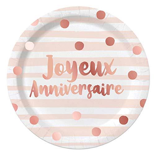 Les Trésors De Lily [A0761 - Pack de 6 Assiettes 'Joyeux Anniversaire' rosé (Blush) - 23 cm