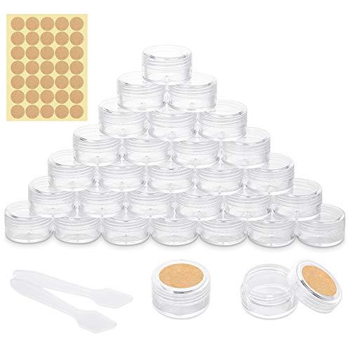 30 Stück Döschen, Cremedose Leer Tiegel Mini Cremedöschen mit Etikettenaufkleber und Mini-Spatel für Nailart Lippenbalsam Creme, 5g 5ml Transparent