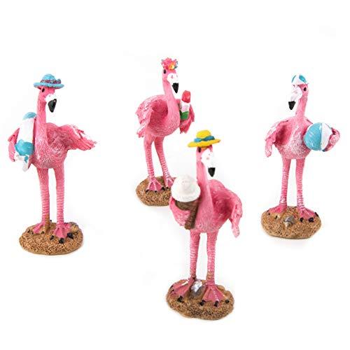 Logbuch-Verlag 4 Bunte Flamingo Figuren pink 9 cm - Sommer Deko Dekofiguren Flamingofiguren zum Hinstellen Verschenken Sommerparty Gartenparty