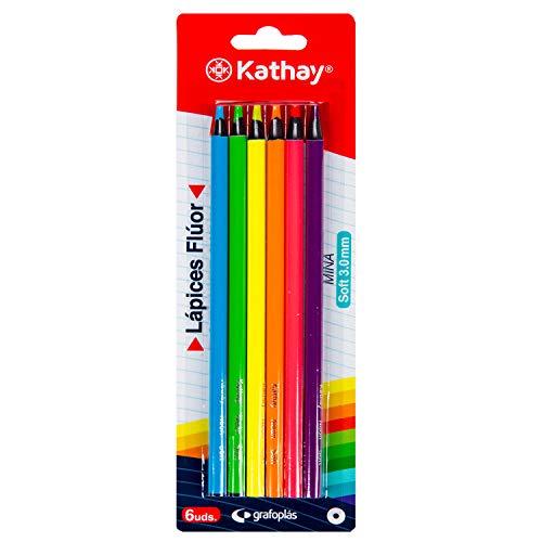 Kathay 86234399. Caja de 6 Lápices de Colores Fluor, Punta Soft, Mina 3mm, Perfectos para Subrayar