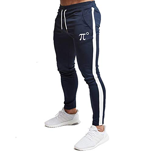 PIDOGYM Men's Slim Striped Jogger Pants,Tapered Sweatpants for Training,Running,Workout,Navy Blue,Large