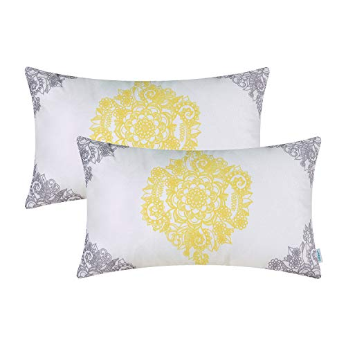 CaliTime Pack of 2 Cozy Pillow Cases Covers for Couch Bed Sofa Manual Hand Painted Print Vintage Mandala Flora 12 X 20 Inches Grey/Yellow