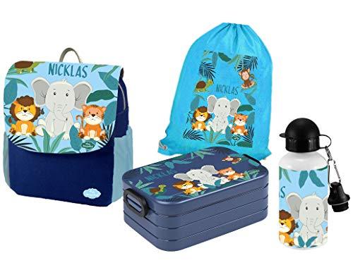 Mein Zwergenland | Personalisiertes Kindergartenrucksack-Set | Happy Knirps Next Print | Kinderrucksack, Lunchbox Maxi, Trinkflasche, Turnbeutel aus Baumwolle mit Name | Blau | Löwe Elefant Tiger