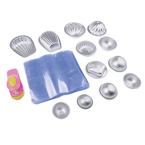 MagiDeal 6 Set Moule en Aluminium avec Sac d'emballage et Mini Machine à Capper pour Savon de Bain DIY Fabrication de Savon/Pâte à Sucre/Pâtisserie/Décoration de Fondant
