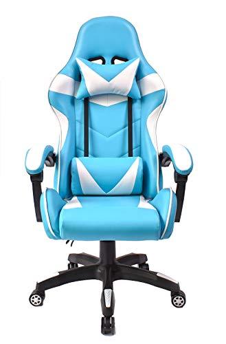 Jestes® Sedia da Ufficio - Gaming Girevole Ergonomica con Cuscini e Schienale Reclinabile - Bianco Celeste