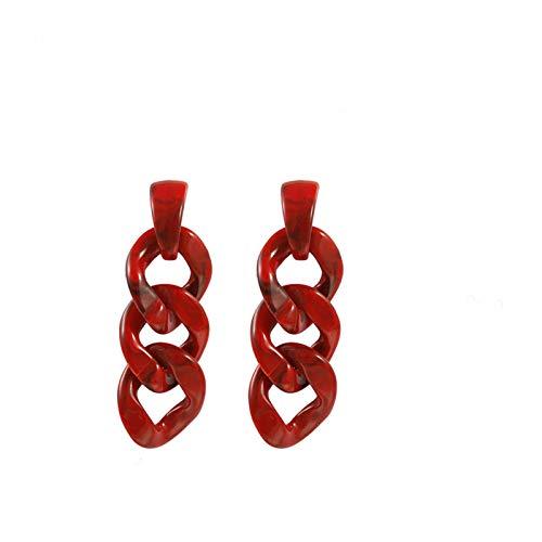 QIN 3 Color Cadena Acrílico Gotas Largas Pendientes Femenina Moda Coreana Geométrico Colorido Resina Declaración Joyería de Playa Regalo