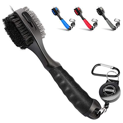 Pro - Cepillo retráctil para palos de golf, cabezal de cepillo de gran tamaño, agarre de mano de goma suave y limpiador de ranuras retráctiles (negro)