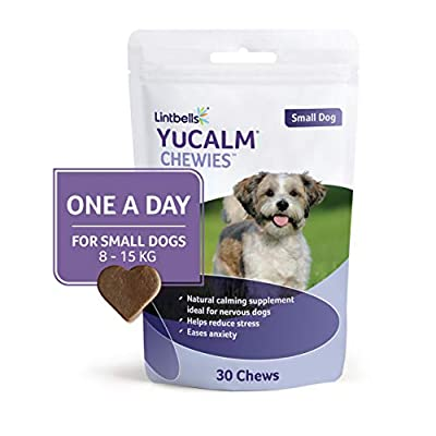 Lintbells | YuCALM ONE-A-DAY Small Chewies For Dogs | Calming Supplement for Dogs who are Stressed or Nervous, All Ages and Breeds | 30 Chews - 1 Month supply by Lintbells