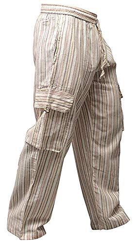 Shopoholic Fashion Bunt-gestreifte Hippie-Hose mit weitem Bein und Seitentaschen, Unisex Gr. M, L.Grey