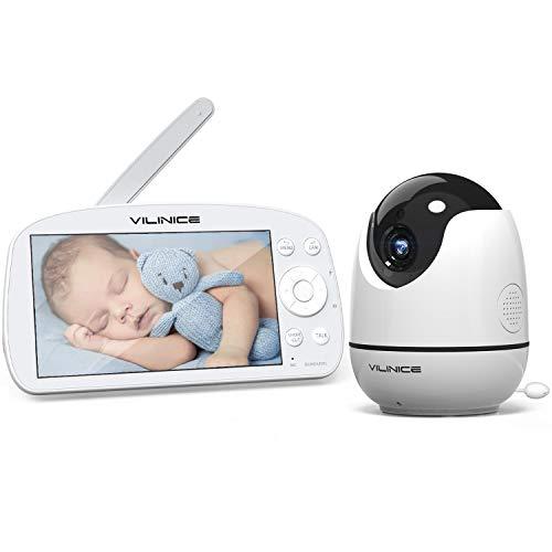 5,5 Zoll Babyphone mit Kamera, VILINICE 720P HD Video Baby Monitor Wireless, VOX, Nachtsicht, Gegensprechfunktion, 300M Reichweite, Temperatur Überwachung, Schlaflieder, 5000 mAh Wiederaufladbar Akku