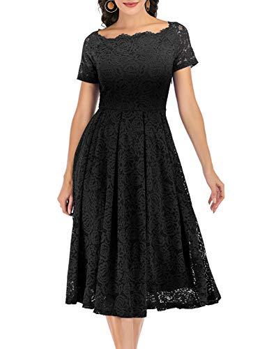 DRESSTELLS Damen Abendkleider elegant für Hochzeit Elegant Schulterfrei Spitzen Cocktailkleid Party Ballkleid Black L