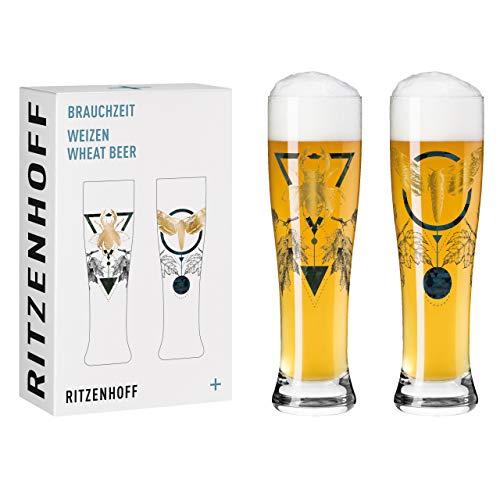 Ritzenhoff Brauchzeit #3 Juego de vasos de cerveza de trigo, Vidrio, multicolor