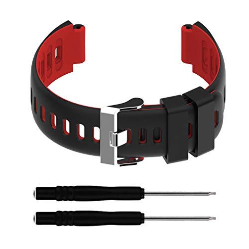 zhibeisai Reloj de Deportes de la Correa de la Correa de Banda de Correa de Reloj Compatible con Forerunner 220/230/235/620/630 / 735xt, Negro Rojo
