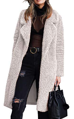 Angashion Women's Fuzzy Fleece Lapel Open Front Long Cardigan Coat Faux Fur Warm Winter Outwear Jackets with Pockets Light Beige L