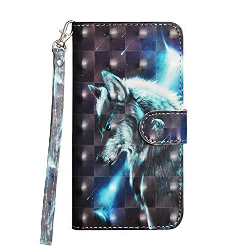 Draamvol Kompatibel mit Samsung Galaxy A41 Hülle, 3D Leder Samsung Galaxy A41 Handyhülle Hülle Flip Wallet Leder Tasche Cover, Schutzhülle Kartenfach Holster,Wolf