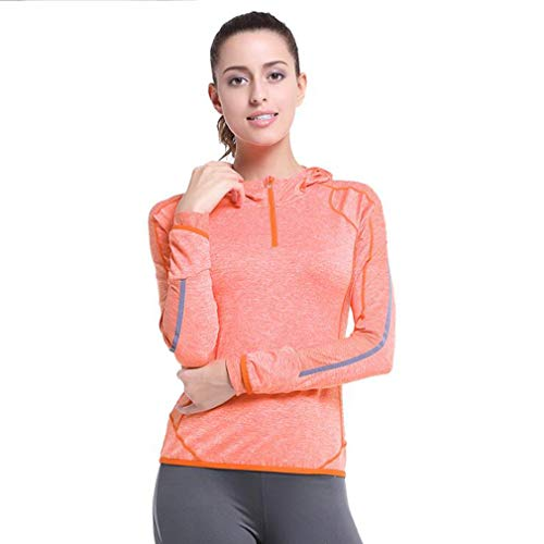 HCYTPL T-shirt top casual sport lange mouwen T-shirt pullover met capuchon dames pullover outdoor lopen bovendeel yoga fitness mantel