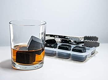 whiskey stones set - 8 chilling stones with tray and tong reusable ice cubes perfect accessories for glasses of drinks and beverages gift for men