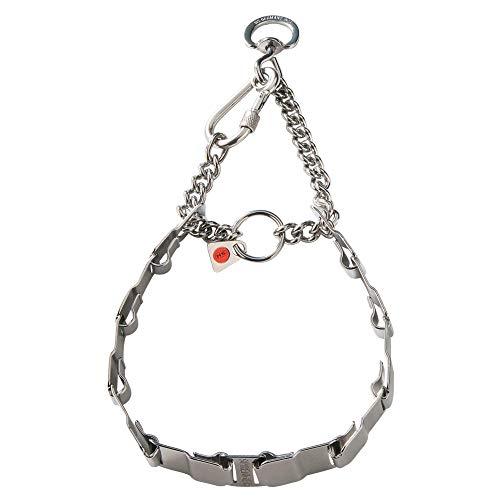 Sprenger Hundehalskette mit Krabiner und Durchzugskette aus Edelstahl I Hundehalsband flache Glieder, 60cm