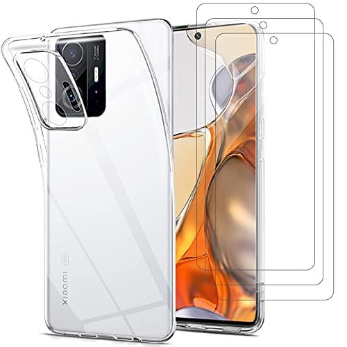 Young & Ming Compatible per Cover Xiaomi 11T 5G/Xiaomi 11T PRO 5G + Pellicola Vetro Temperato, Sottile Silicone TPU Bumper Case Antiurto Antigraffi Case Custodia per Xiaomi 11T 5G/11T PRO 5G