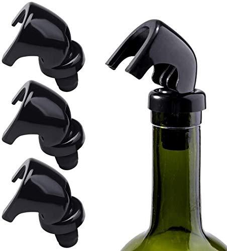 JiYanTang Tapones de Botella para Champán/Vino, Reutilizables, Tapón de Botella de Vino Bomba de Vacío de Corcho, Amantes del Vino, 4 Unidades