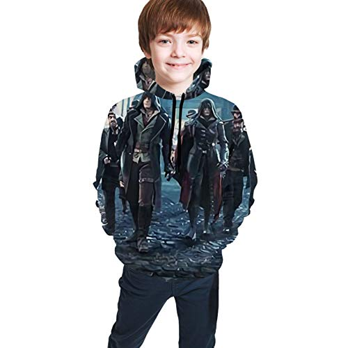 Assa_Ssin'S Cre-Ed Girls & Boys Long Sleeves Hoodies Hooded Sweatshirt Slim Fit Winter Autumn Tops Black