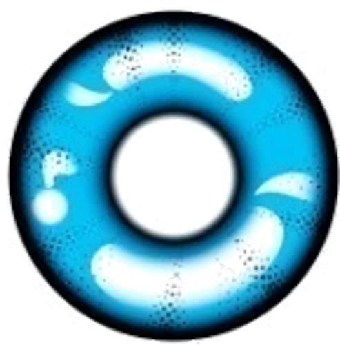 Matlens - Pro Trend Crazy Fun Motiv Farbige Kontaktlinsen GEO Animation CP-A4 blau blue 2 Linsen 1 Kontaktlinsenbehälter 1 Pflegemittel 50ml FBA