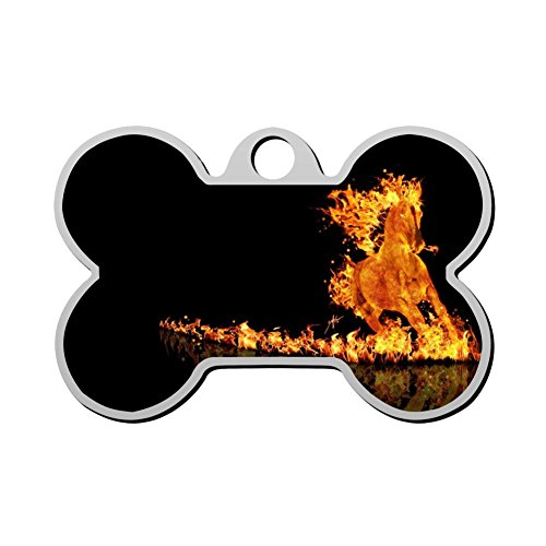 Fire Horse Steed Hond Tag Huisdier ID Tags Puppy Kat Bone Shaped Zink Legering Identiteit Hanger Trendy Supplies Duplex Bedrukt - Op maat gemaakt