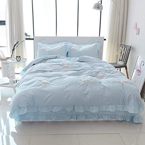 Teyun. Aus Reiner Baumwolle Home Textile Suite gestickter Bett Stoff Twill, weiß, Purpurrot. (Color : Blue, Size : 150-180CM)