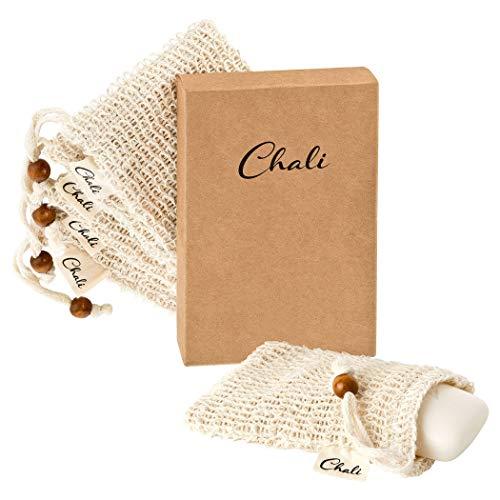 Chali® Seifensäckchen Sisal im 5er Pack, nachhaltige Bio Seifenbeutel für Seifenreste, festes Duschgel, Shampoo, Seife - Seifennetz mit Peeling Effekt