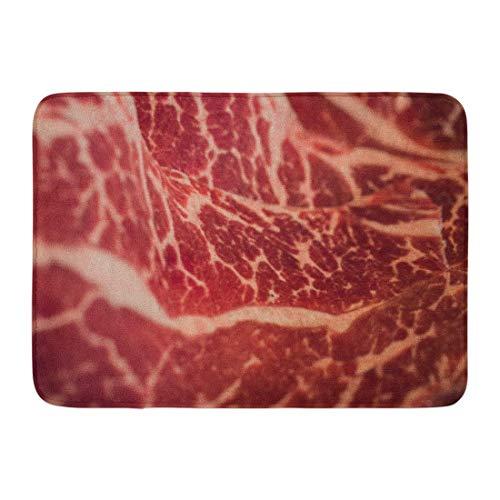 Alfombrillas Alfombras de baño Alfombrilla para exterior / interior Alfombra roja de fondo Marmoleado Carne japonesa cruda Carne fresca cruda Wagyu Macro Beeffat Decoración de baño Alfombra Alfombra